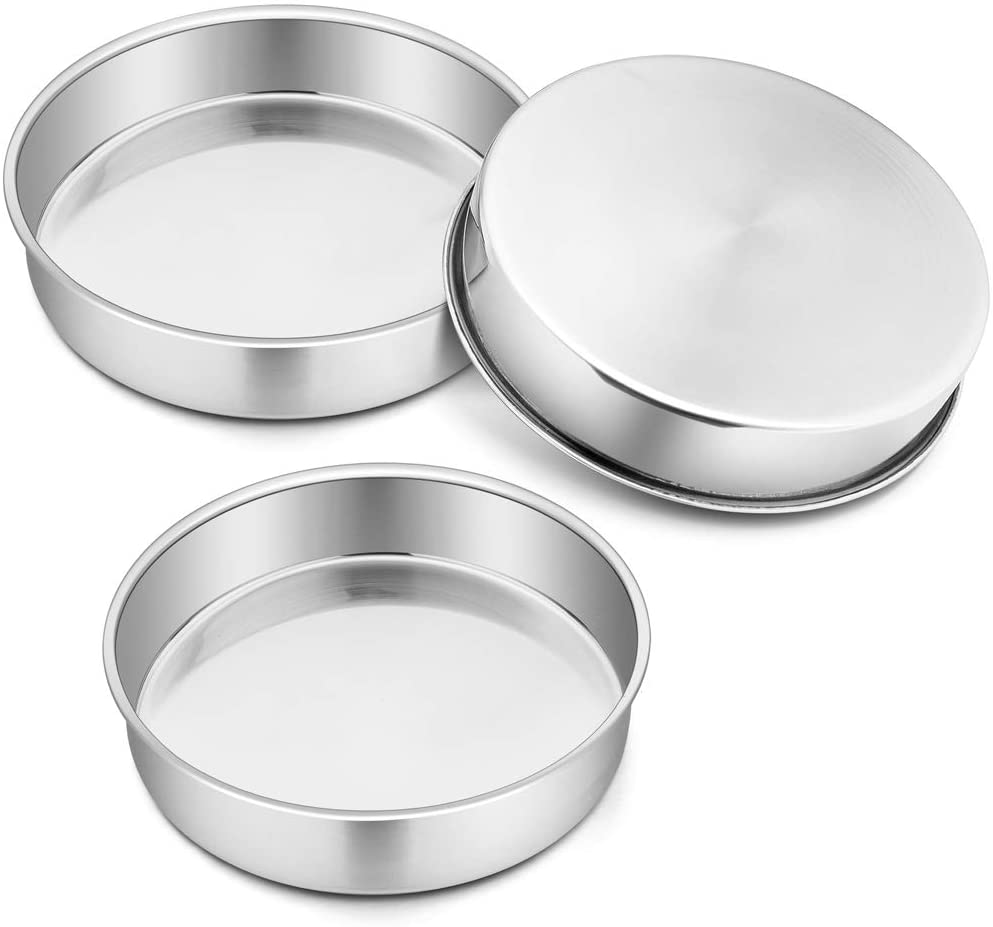 9½'' Cake Pan Set of 3, P&P CHEF Stainless Steel Round Oven Baking Layer Pans for Birthday Weeding, Healthy & Durable, One-piece Molding & Leakproof, Mirror Finish & Dishwasher Safe