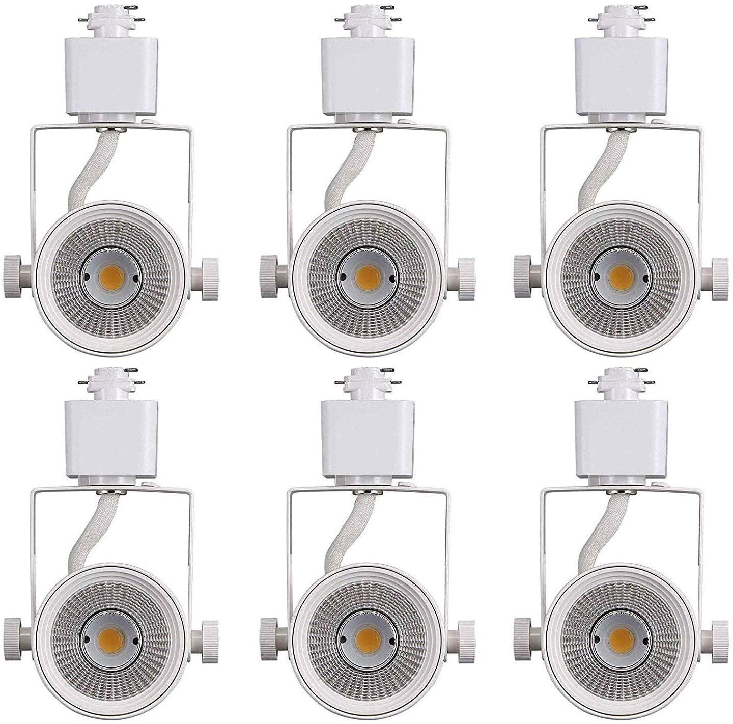Cloudy Bay 8W 4000K Cool White Dimmable LED Track Light Head,CRI90+ True Color Rendering Adjustable Tilt Angle Track Lighting Fixture,40° Angle for Accent Retail,White Finish,Halo Type- Pack of 6