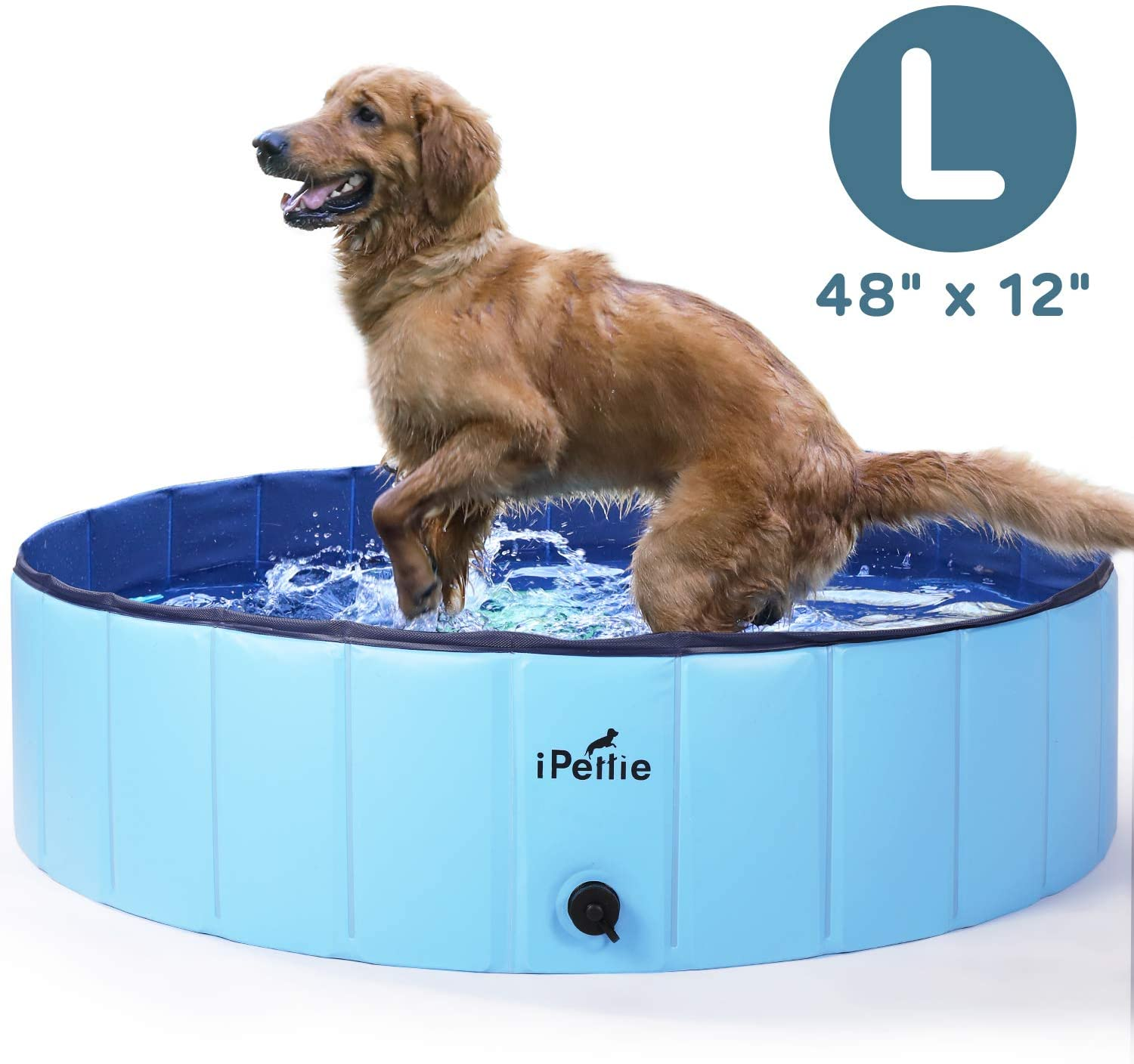 iPettie Foldable Dog Swimming Pool, Portable Collapsible Outdoor Pet Bathing Tub, Kiddie Pool for Dog Cats & Kids