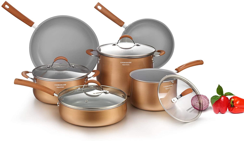 cooper pan Signature 10-Piece Ceramic Nonstick Aluminum Cookware Set, Induction Compatible Pots and Pans Set, Dishwasher Safe Oven Safe PTFE PFOA Free-Copper