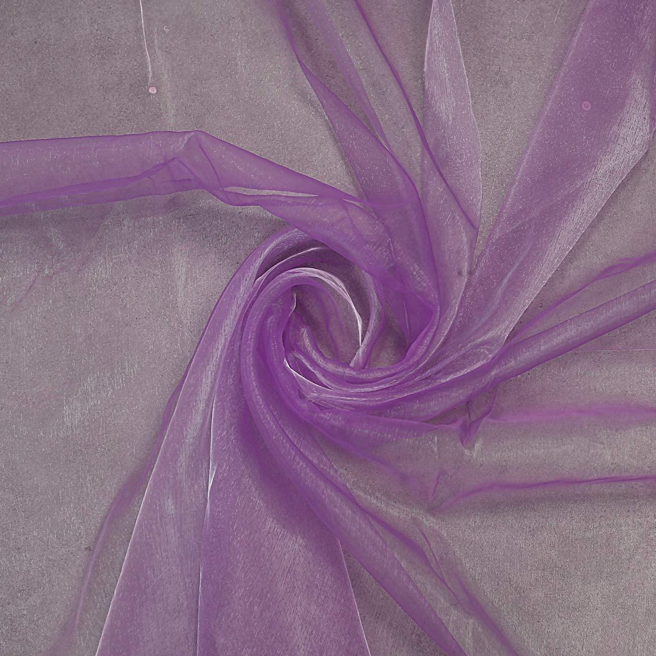 "mds Pack of 10 Yard Bridal Solid Sheer Organza Fabric Bolt for Wedding Dress,Fashion, Crafts, Decorations Silky Shiny Organza 44""- Light Purple"