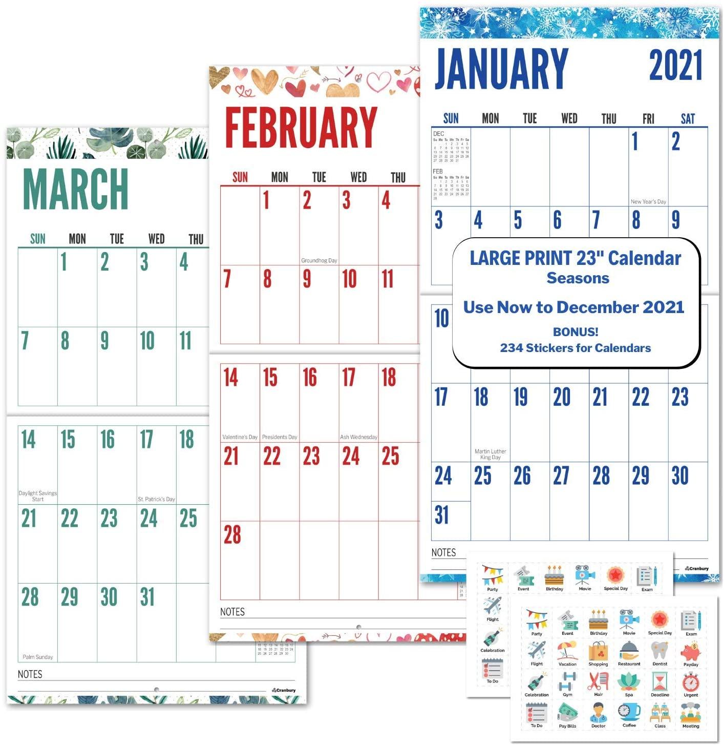 CRANBURY Large Print 2021 Wall Calendar (Seasons), 12x23, Use to December 2021, Stunning Big Grid Wall Calendar for Seniors, Vivid Colors, Family or Office Hanging Calendar 2020 2021