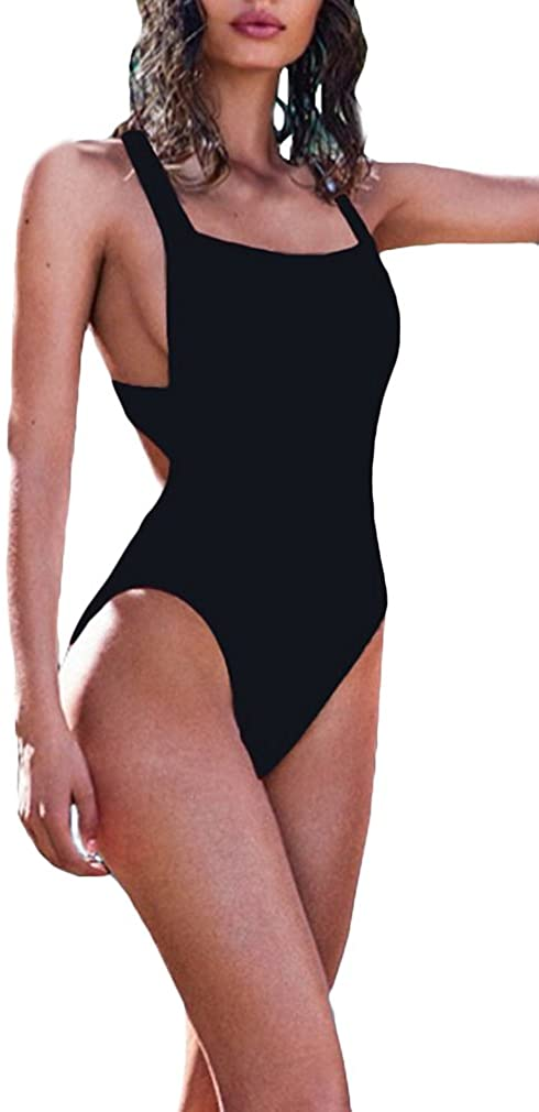 Lukitty Women's Sexy One Piece High Cut Backless Bikinis Bathing Suits Swimsuits