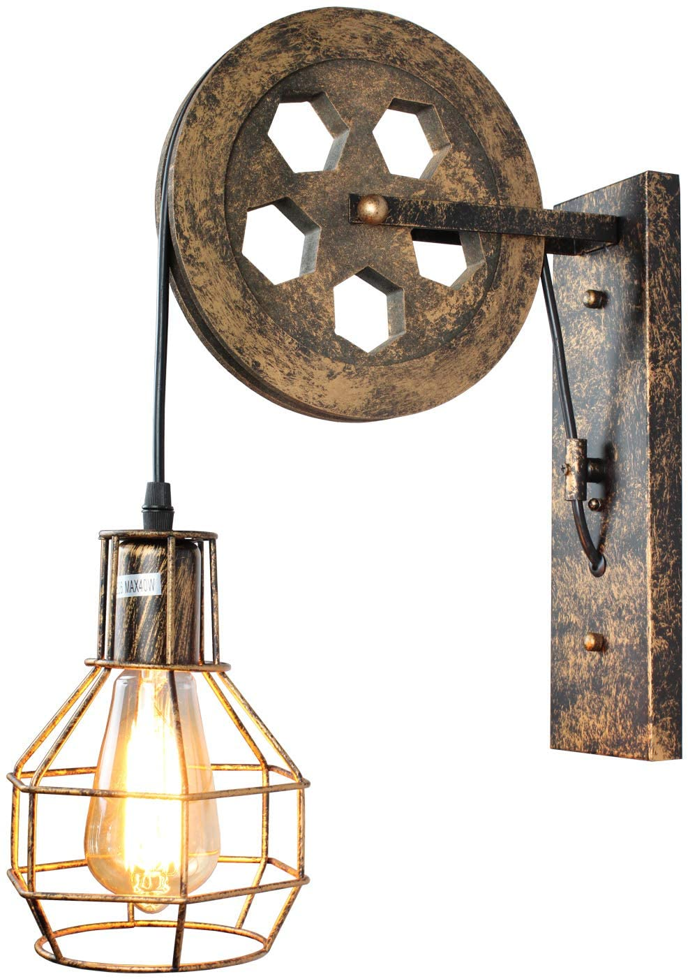 PUZHI HOME Industrial Wall Sconce Pulley Wall Lamp 1-Light Wall Light Fixtures for Indoor Lighting Bathroom Kitchen Living Room -Bronze Finished