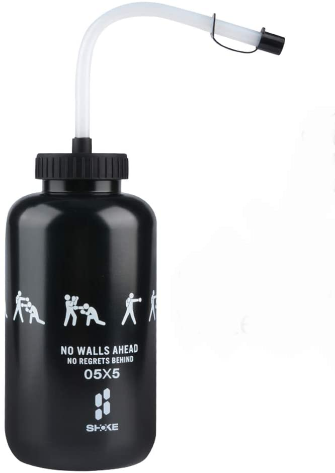 SHOKE Hockey Water Bottle with Long Straw BPA Free Plastic Squeezable Goalie Boxing Water Bottles 32 Oz 1 Liter for Sport Black/Red Perfect for Hockey Football … (Black)