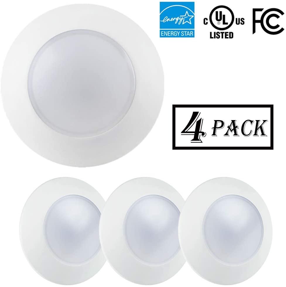 ECOELER 4inch Dimmable LED Disk Light Flush Mount Recessed Retrofit Ceiling Lights, Aluminum Baffle Trim, 10.5W 3000K Warm White