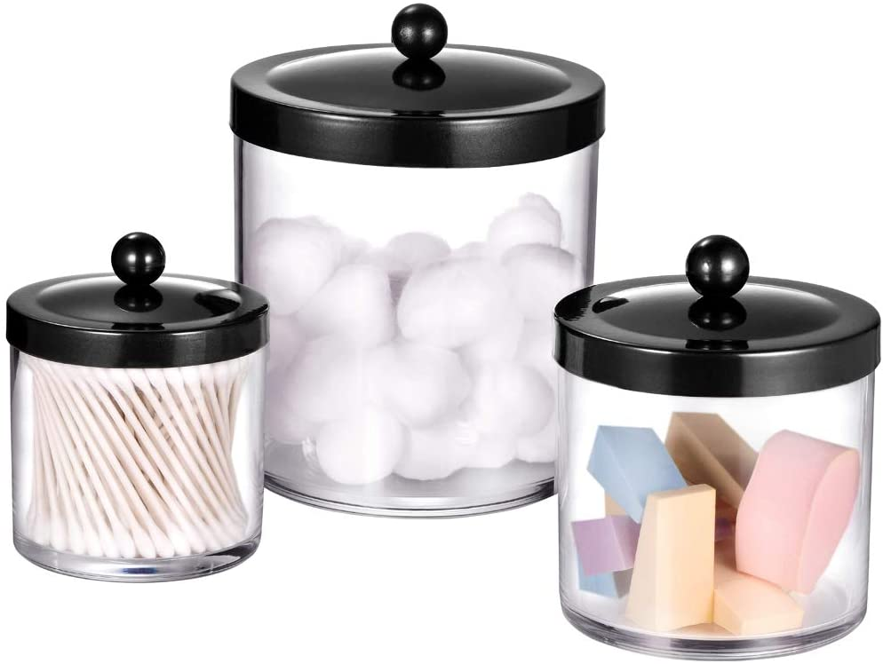 Premium Quality Apothecary Jars - Clear Plastic Storage Jars with Rust Proof Stainless Steel Lids - Bathroom Vanity Countertop Storage Organizer Canister Holder House Decor   Set of 3 (Black)