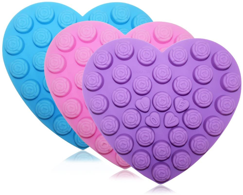 30 Rose Flowers Baking Silicone Molds, SENHAI 3 Pack Heart-Shaped Chocolates Cake Candy Ice Cube Craft Decorations Trays - Purple, Blue, Pink