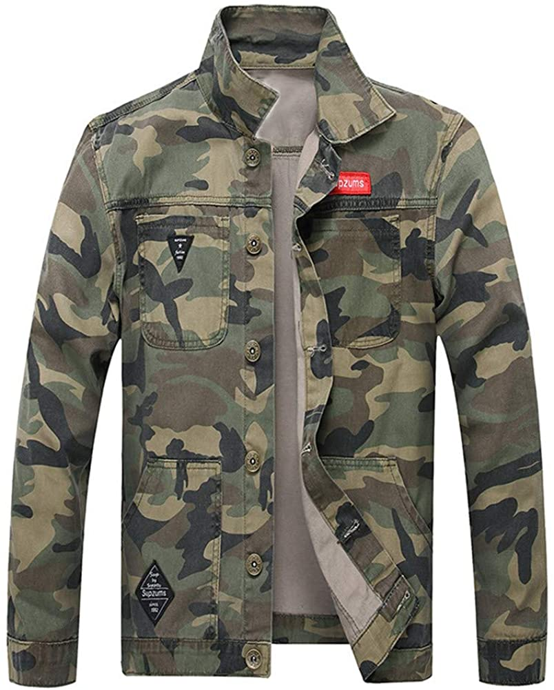 cobcob Men's Jeans Jackets,Males Buttons Pockets Coat Big and Tall Turn-Down Collar Camouflage Denim Bomber Jacket