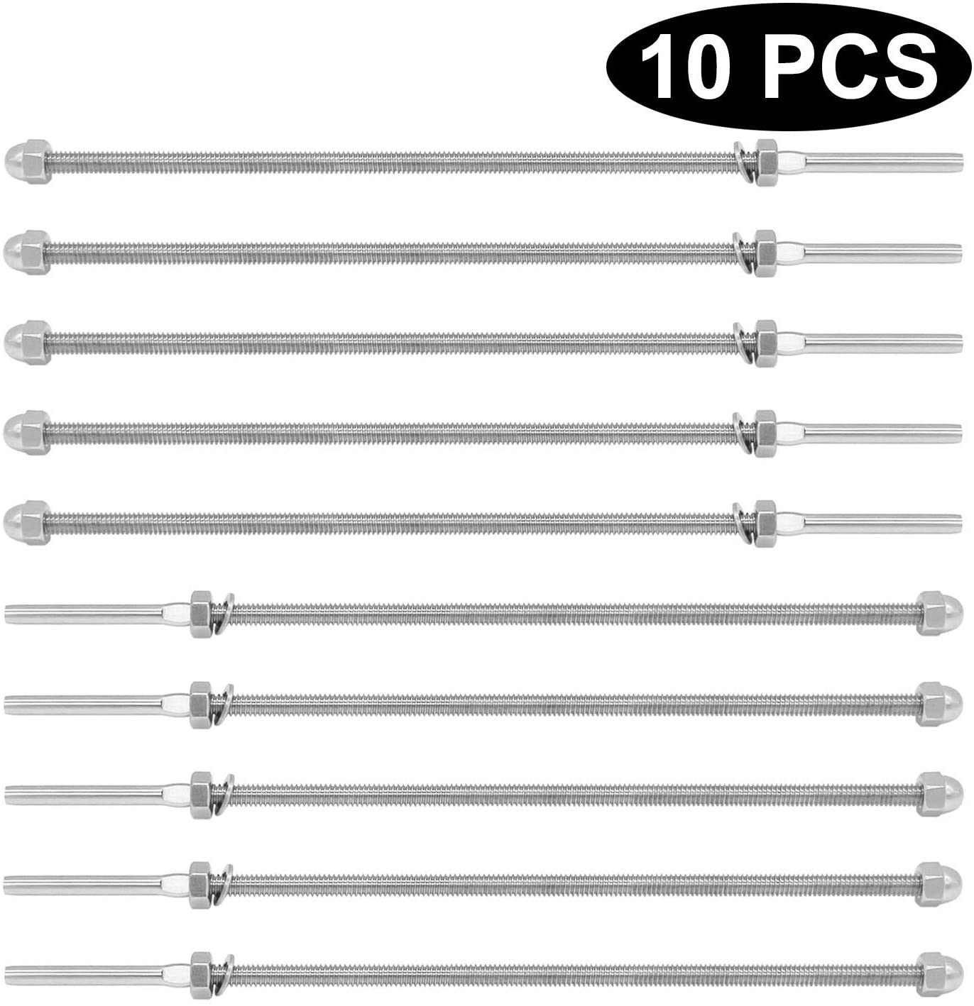 """Lehom 10 Pack Cable Railing Swage Threaded Stud Tension End Fitting Terminal for 1/8 Cable Deck Railing Hand Swage T316 Stainless Steel(10"""" Long, for 6x6 or 8x8 Deck Wood Posts)"""