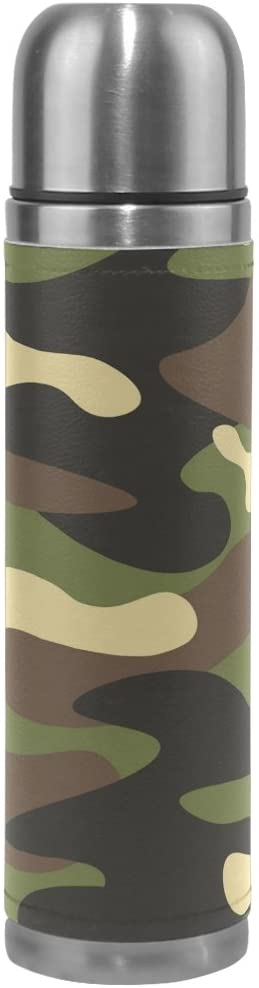 ALAZA Stylish Colorful Camouflage Vacuum Flask 17 oz, Double Layer Stainless Steel Vacuum Insulated PU Leather Travel Mug Kettle Bottle Cup