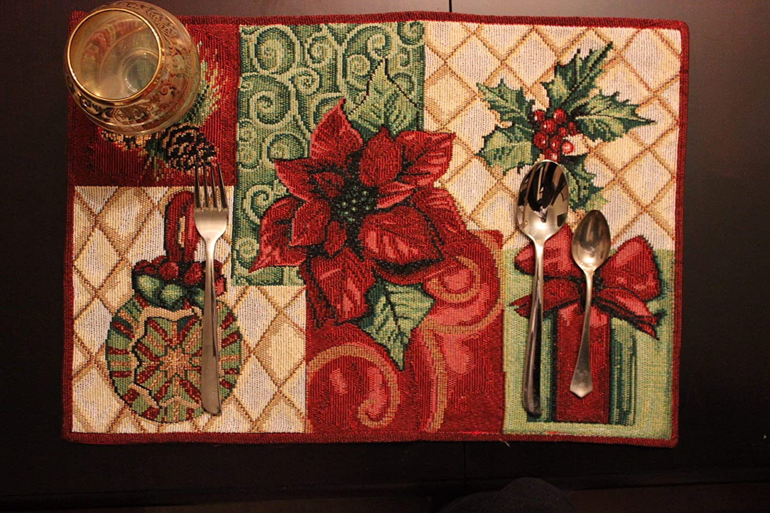Tache Christmas Poinsetta Elegant Festive Holiday Tidings Woven Tapestry Placemats Set of 4