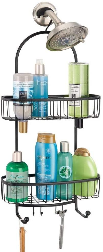 mDesign Large Metal Bathroom Tub & Shower Caddy, Hanging Storage Organizer Center with Built-in Hooks and Baskets on 2 Levels for Bathroom Showers, Stalls, Bathtubs - Black