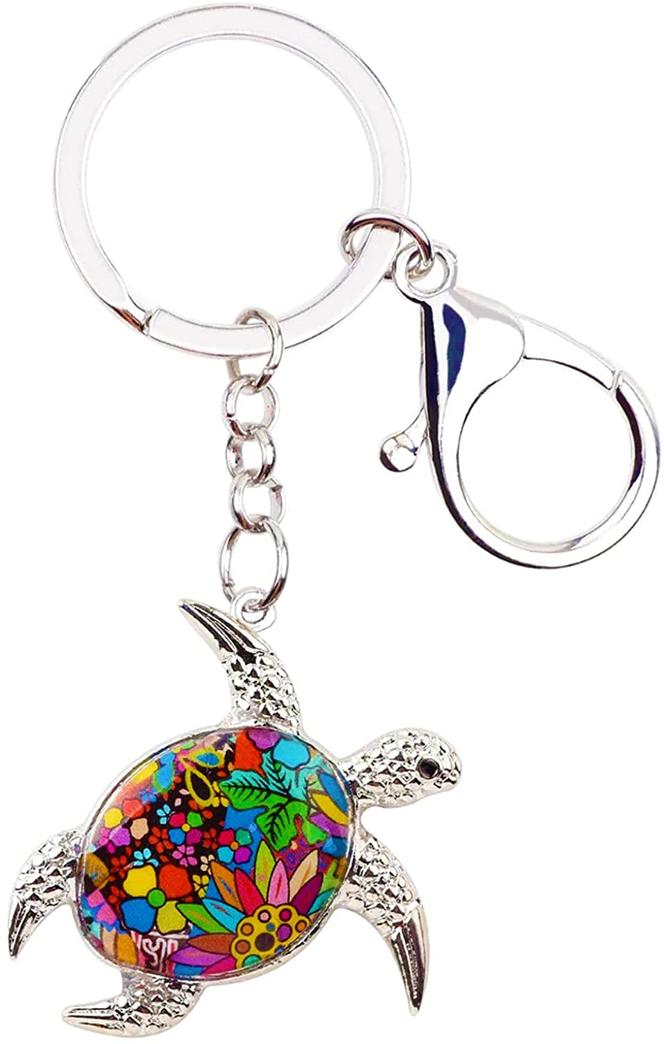 Brilliante Luxe Key Chain - Creative Enamel Metal Sea Turtle Key Chains for Women - Colorful Unique Tortoise Animal Jewelry, Ideal Gift for Mother, Men, and Women - Used for Car Purse and Bag Charms