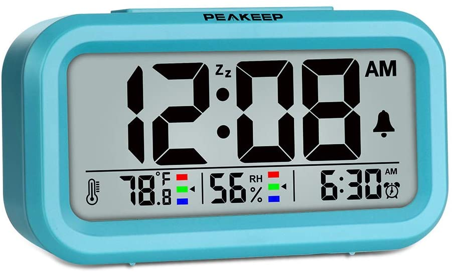 Peakeep Indoor Humidity Temperature Digital Alarm Clock for Bedrooms, Smart Night Light, Battery Operated Small Easy Desk Bedside Gifts Clock (Blue)