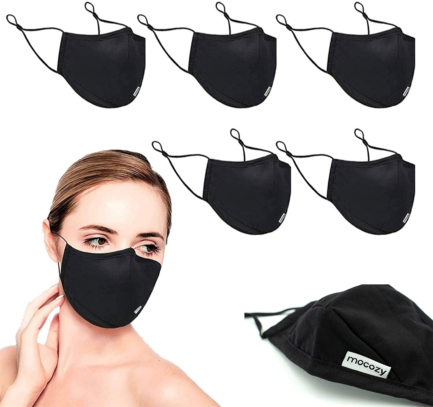 5 Pack 3-Layer Fashion Protective, Reusable Cotton Fabric, Unisex Black Cotton, Washable with Air Port for Carbon Filter