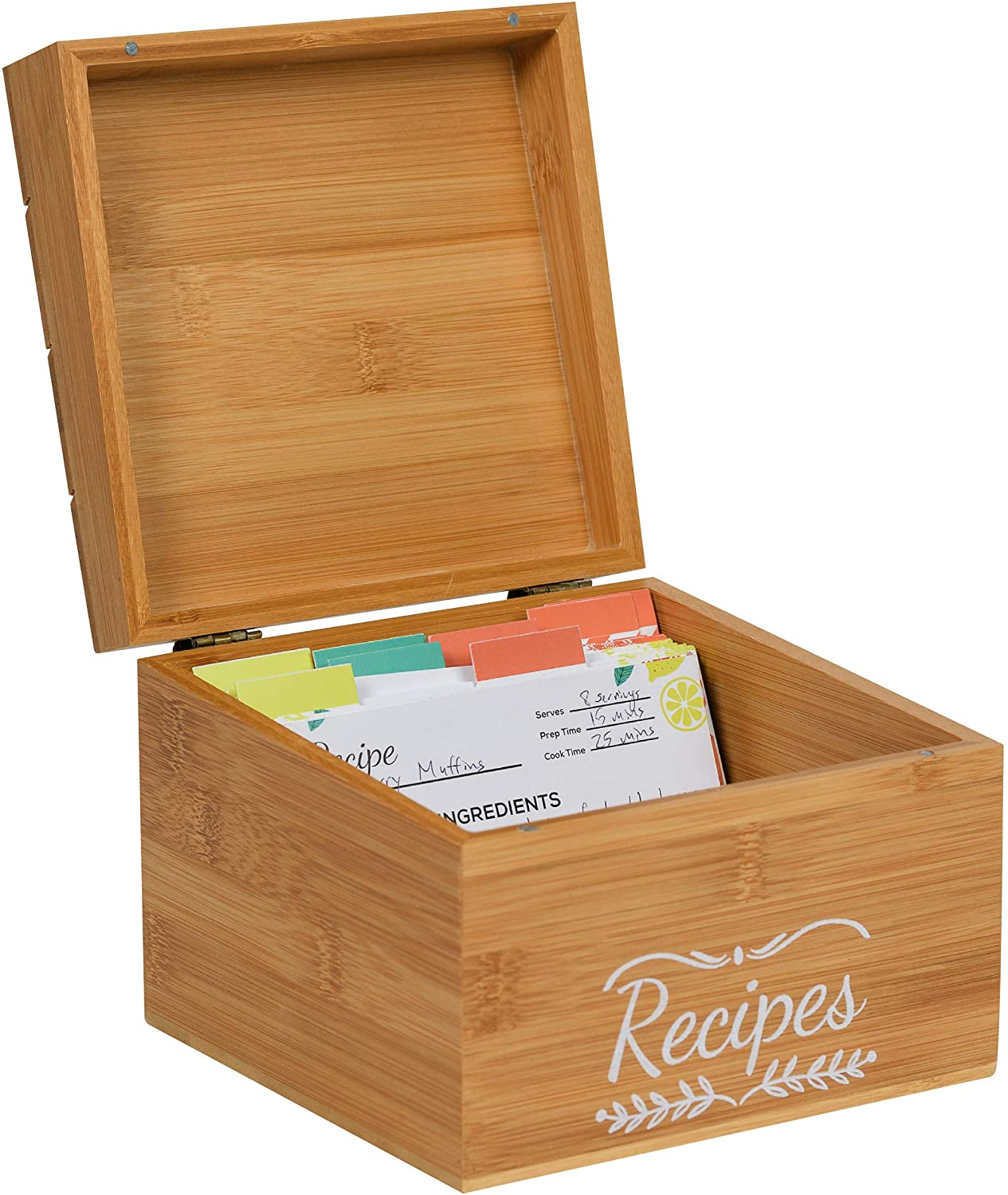 Pinelive TriSlot Recipe Box with Cards and Dividers - Rustic Wood Recipe Box with 76 Blank Recipe Cards 4x6, 8x Dividers and Measurements. For Kitchen, or Recipe Cards for Bridal Shower Gift (Bamboo)