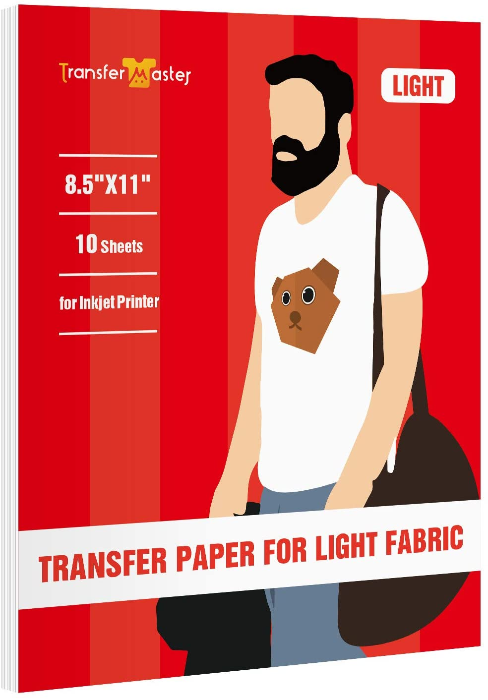 Inkjet Printable Iron-On Heat Transfer Paper for White and Light Fabric T-shirts, Totes, Bags, 8.5x11 Inch 10 Sheets by Transfer Master