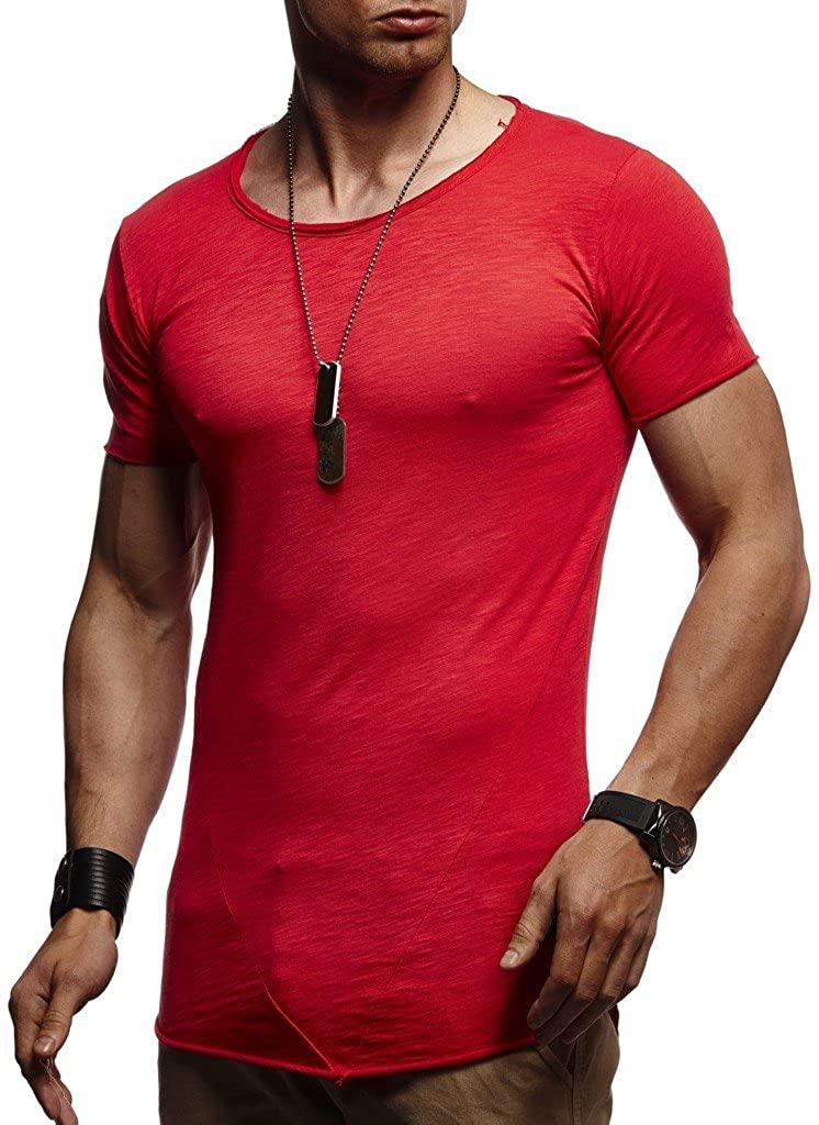 Leif Nelson mens t-shirt crewneck slim fit short sleeve cotton LN6281- Size XXL, Red