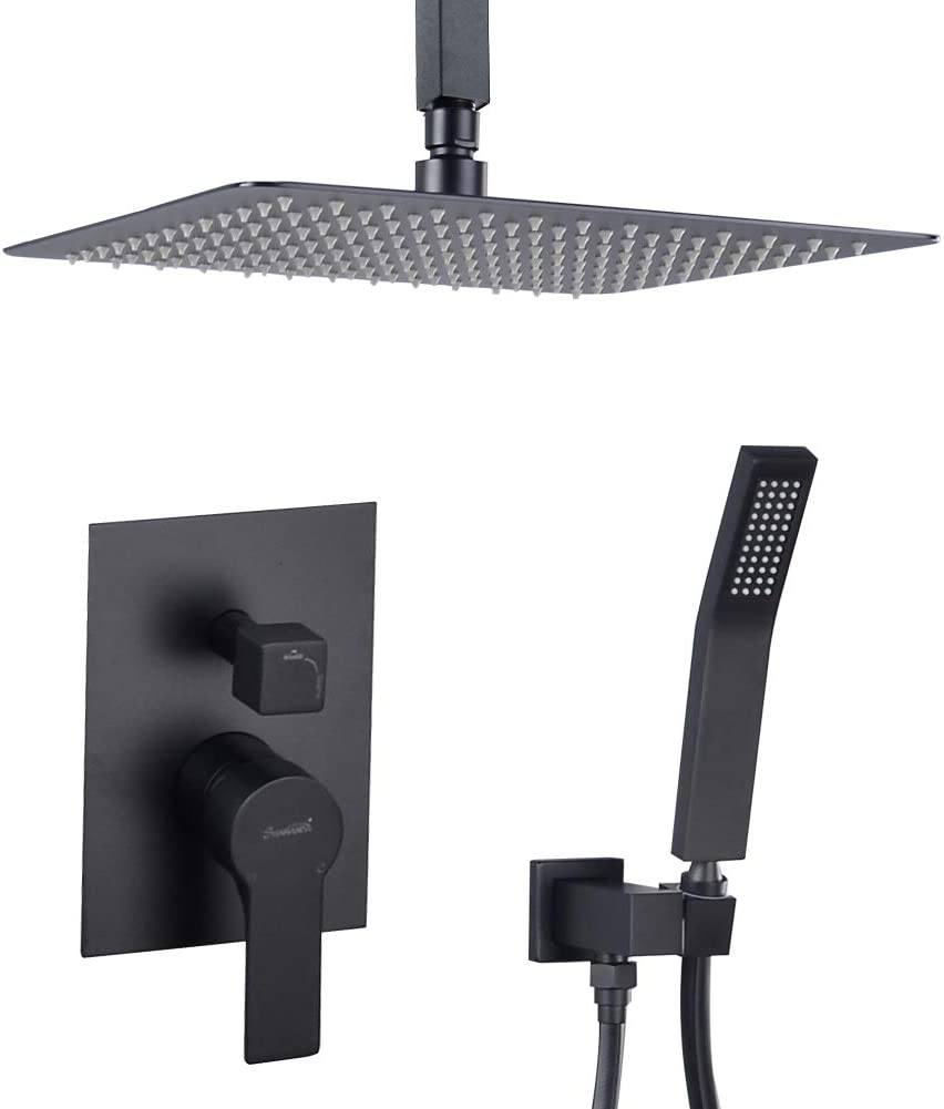 Ceiling Mounted Rain Shower System, SHAMANDA Luxury Brass Shower Faucet Set with 12 Inch Shower Head and Hand Shower(Including Rough-In Valve Body and Trim), Matte Black, LCM701-7