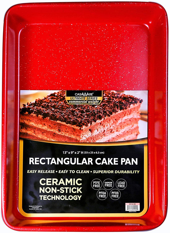 casaWare 13 x 9 x 2-inch Ultimate Series Commercial Weight Ceramic Non-Stick Coating Rectangular Cake Pan (Red Granite)