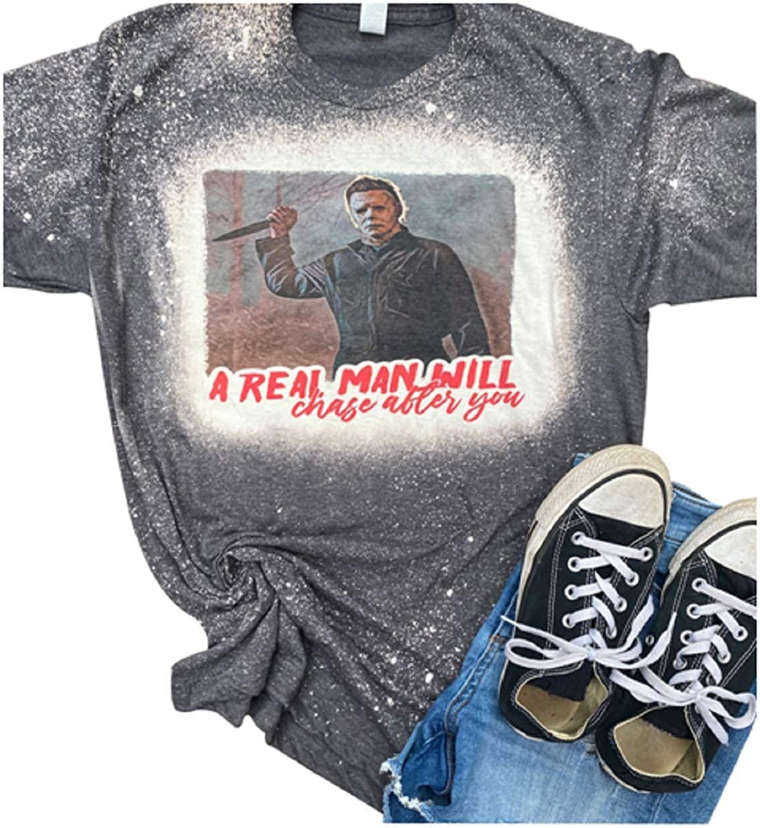 A Real Man Will Chase After You Michael Myers Shirt Women Cute Horror Movie Character Tie Dye Graphic Tops Halloween Blouse