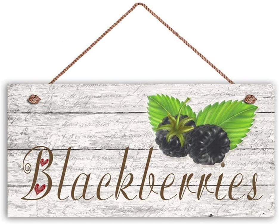 INNAPER Blackberries Sign, Garden Sign, Rustic Distressed Decor, 6