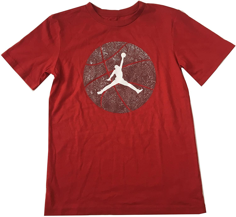 Jordan Air Big Boys Tee Shirt Gym Red Size Small (8-10 Years)