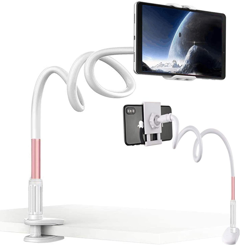 Sarainkura Gooseneck Bedside Phone Holder,32inch Flexible Long Arm Phone Mount for Desk,Mobile Phone Tablet Universal Stand,Clip Bracket Within 10.5inch Mobile Cell Phone/Tablet