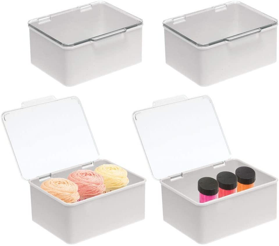 mDesign Plastic Stackable Craft, Sewing, Crochet Storage Container Box with Attached Lid - Compact Organizer and Holder for Thread, Beads, Ribbon, Glitter, Clay - 4 Pack - Clear/Light Gray