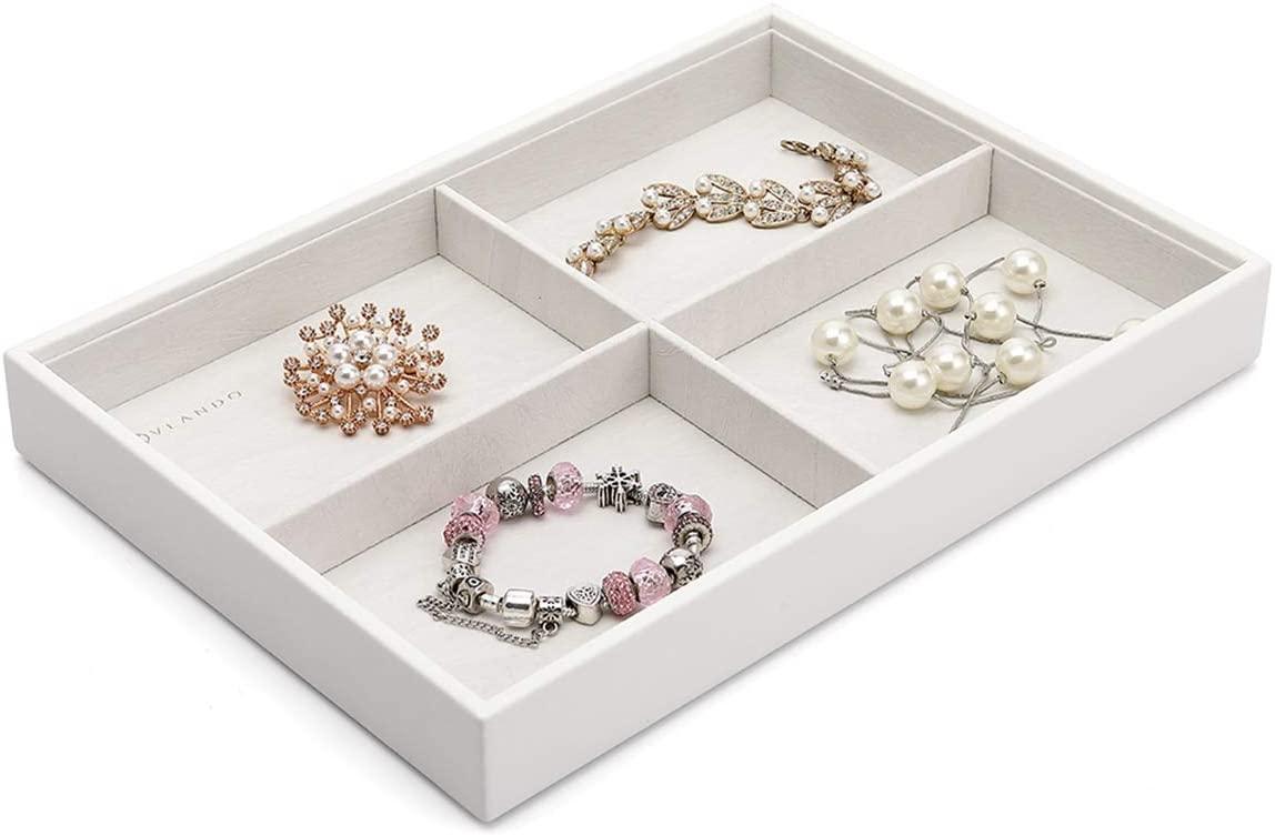 Vlando Miller Stackable Cross Jewelry Tray Big Compartment Showcase Display Drawer Organizer Storage(White)