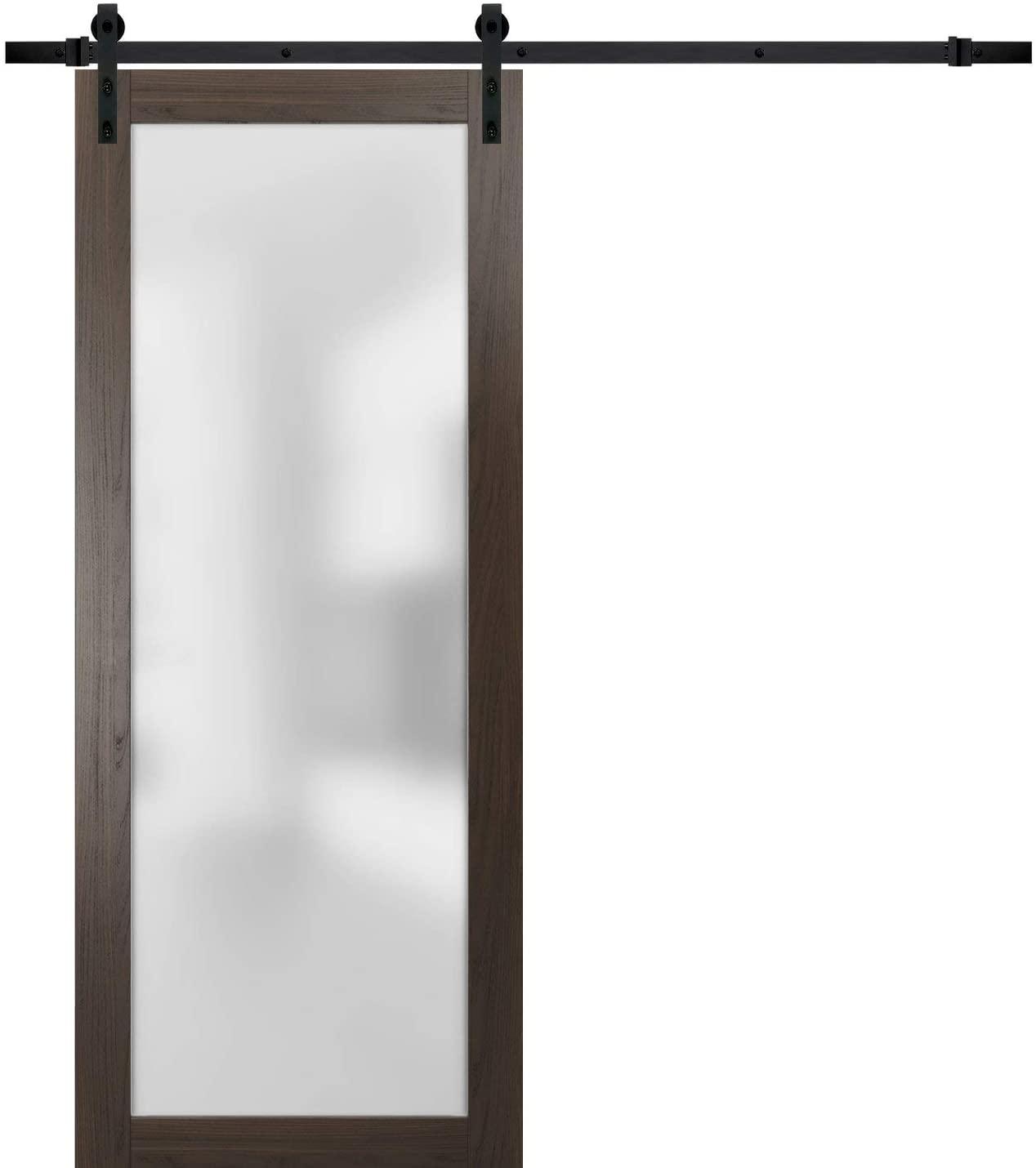 Sliding Barn Lite Glass Door 32 x 80 | Planum 2102 Chocolate Ash | 6.6FT Rail Hangers Stops Hardware Set | Modern Solid Core Interior Door Eco-Veneer
