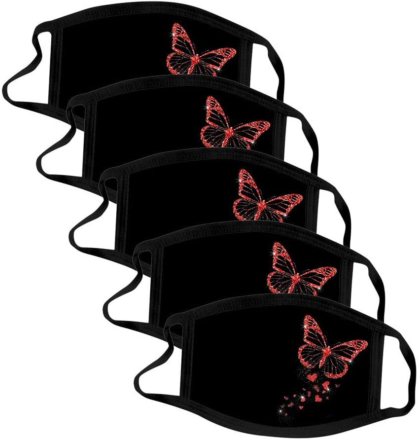 Adults Reusable_Face_Mask, 5PCS Cute Black Anti-dust Cotton Washable Windproof Funny Design Butterfly Pattern Mouth_Mask for Men Women