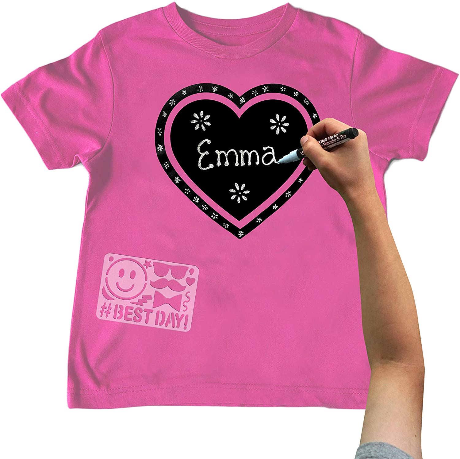 Chalk of the Town Pink Heart Chalkboard Short Sleeve T-Shirt Kit for Kids with 1 Marker and 1 Stencil (Youth Extra-Small)