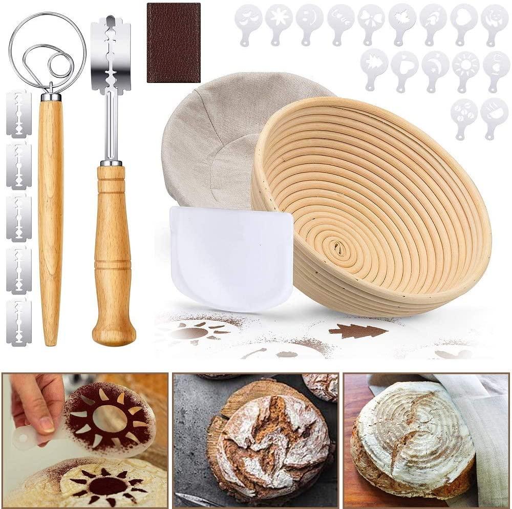 Bread Proofing Basket, PATIOPTION 21PCS Professional Banneton Baking Kit Set Round Dough Baking Bowl for Baker Include 1 Proofing Basket 8.6 inch/Cloth Liner/Scoring Lame/Scraper/Whisk/16 Stencils