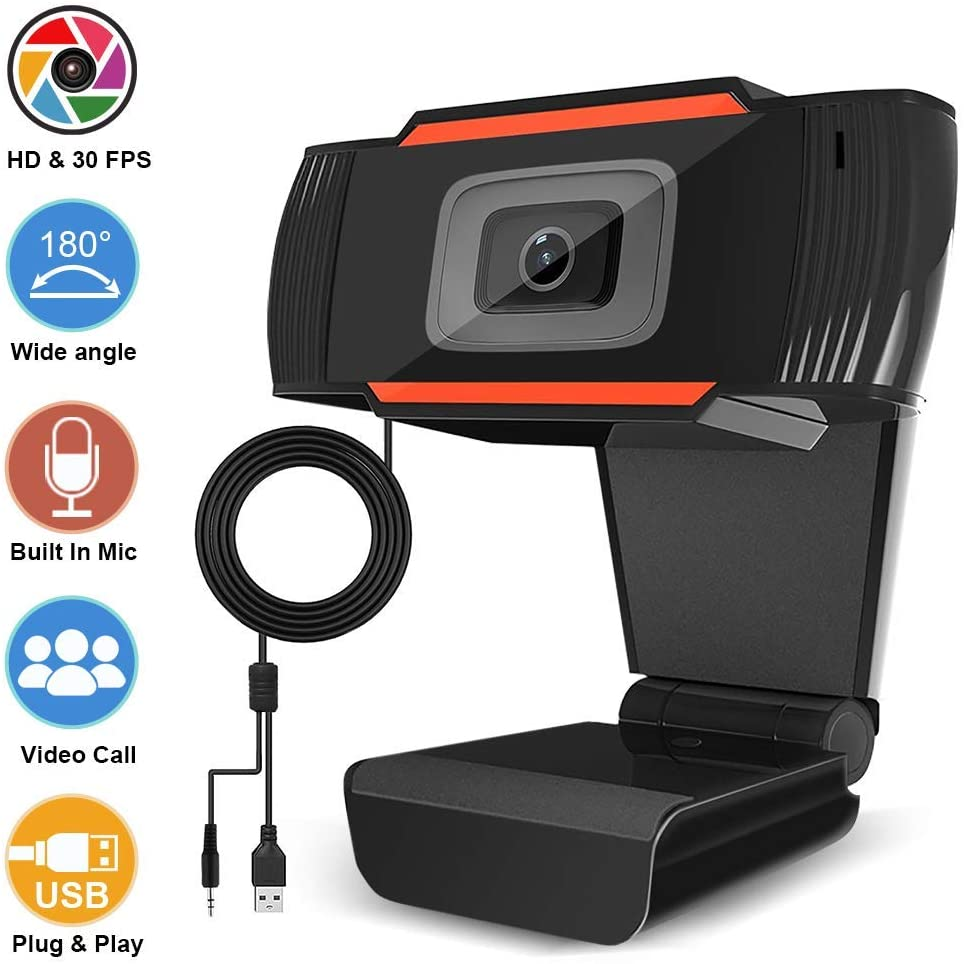 USB 2.0 HD Webcams with Microphone, 1080P Autofocus Video Call Available Pro Streaming Web Camera, Widescreen Computer Camera for PC Mac Laptop Video Calling Conferencing Recording (Black)