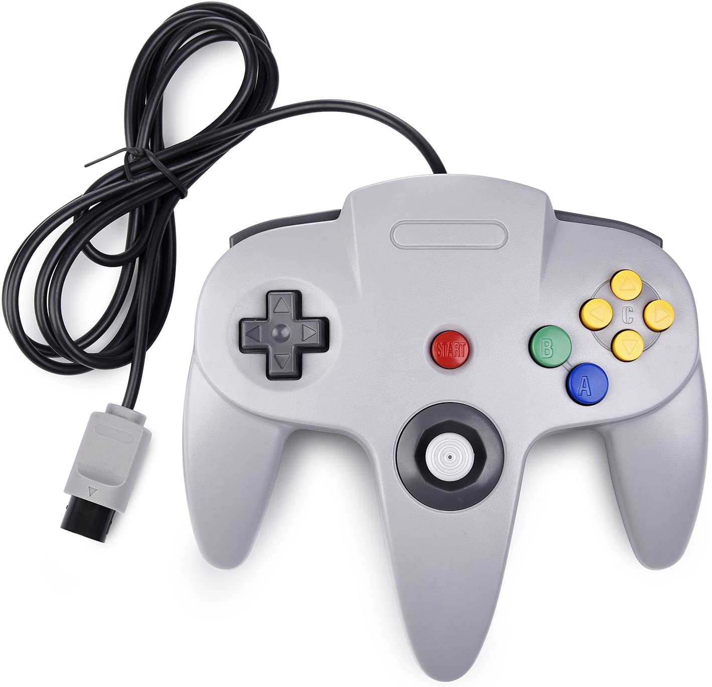 Classic N64 Controller,Retro Wired Game Pad Controller Joystick Compatible N64 System Video Games Console Gray