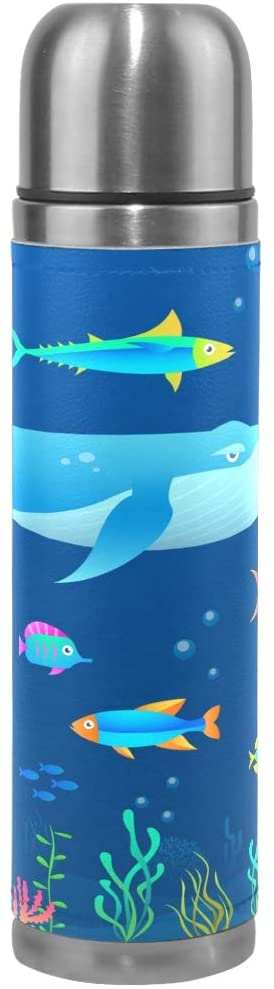 LDIY Art Sea Animal Thermos Sport Water Bottle Pots Stainless Steel Insulated Vacuum Flask Leather Wrapped(500ML)