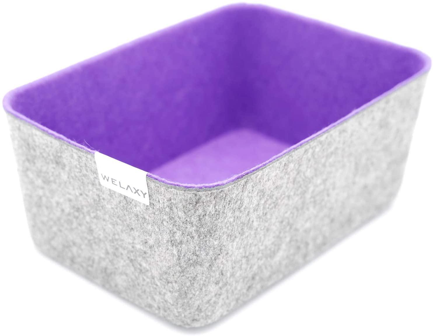 Welaxy Felt Storage bin Desktop Organizer Bins Drawer Organizer bin Drawers Divider Box (Purple, 1)