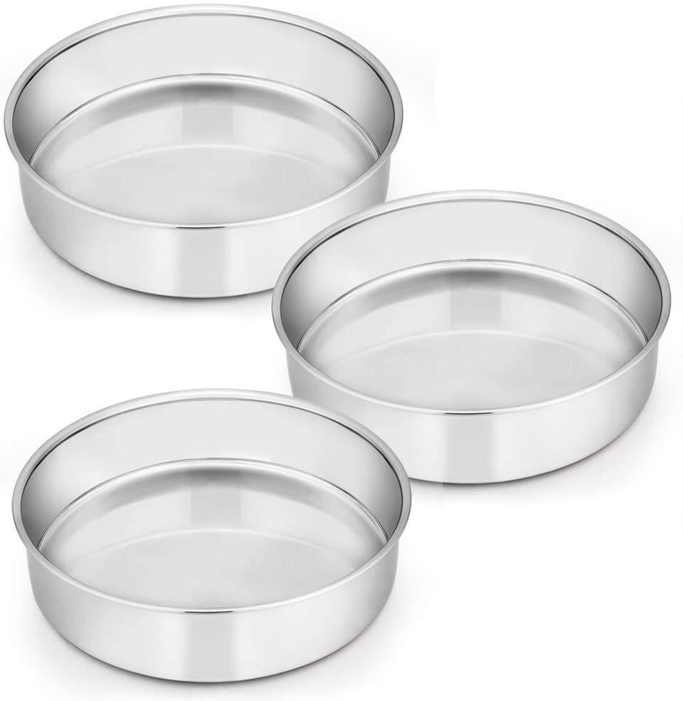 8 Inch Cake Pan Set of 3, E-far Stainless Steel Round Layer Cake Baking Pans, Non-Toxic & Healthy, Mirror Finish & Dishwasher Safe