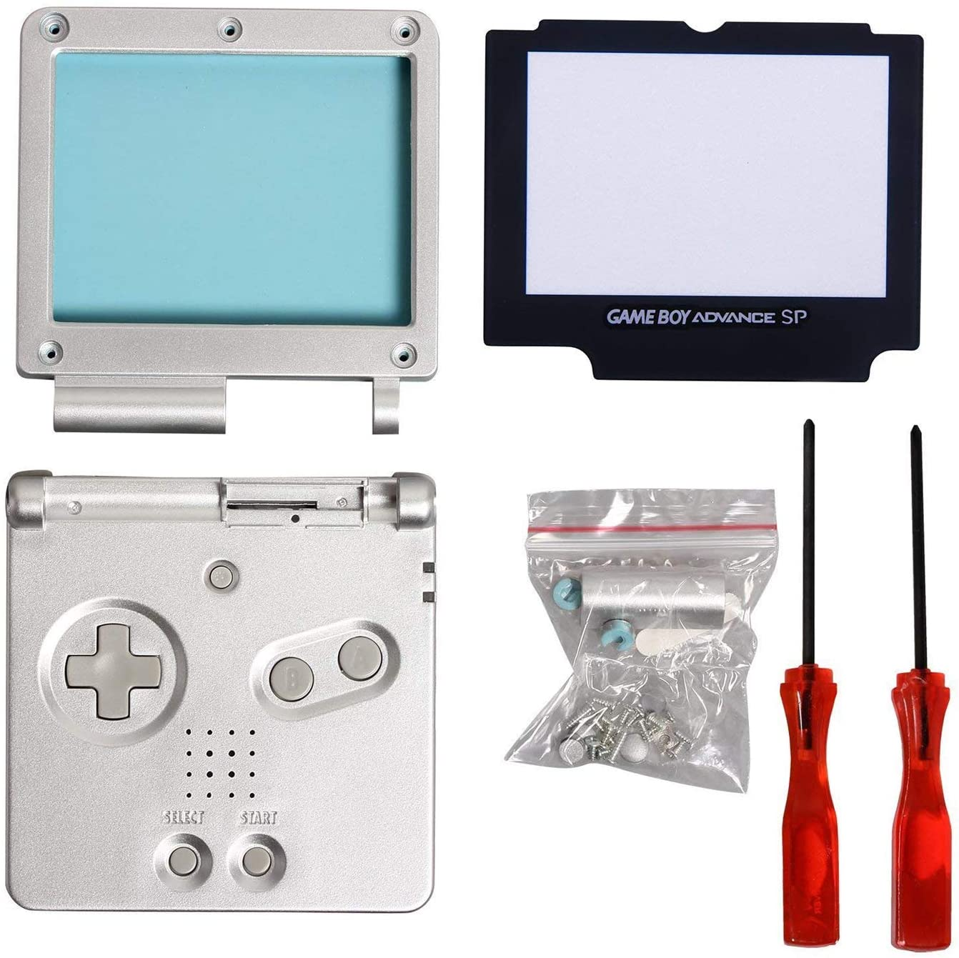GBA SP Shell, Timorn Full Parts Housing Shell Pack Replacement for GBA SP Gameboy Advance SP (Silver Pack)