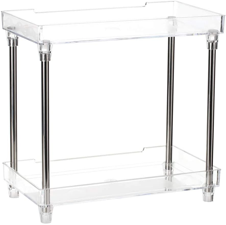 Blusea 2-Tier Storage Shelves, Multifunctionl Vanity Makeup Organizers, Clear Display Tray Caddy Stand for Bathroom Kitchen Bedroom Office