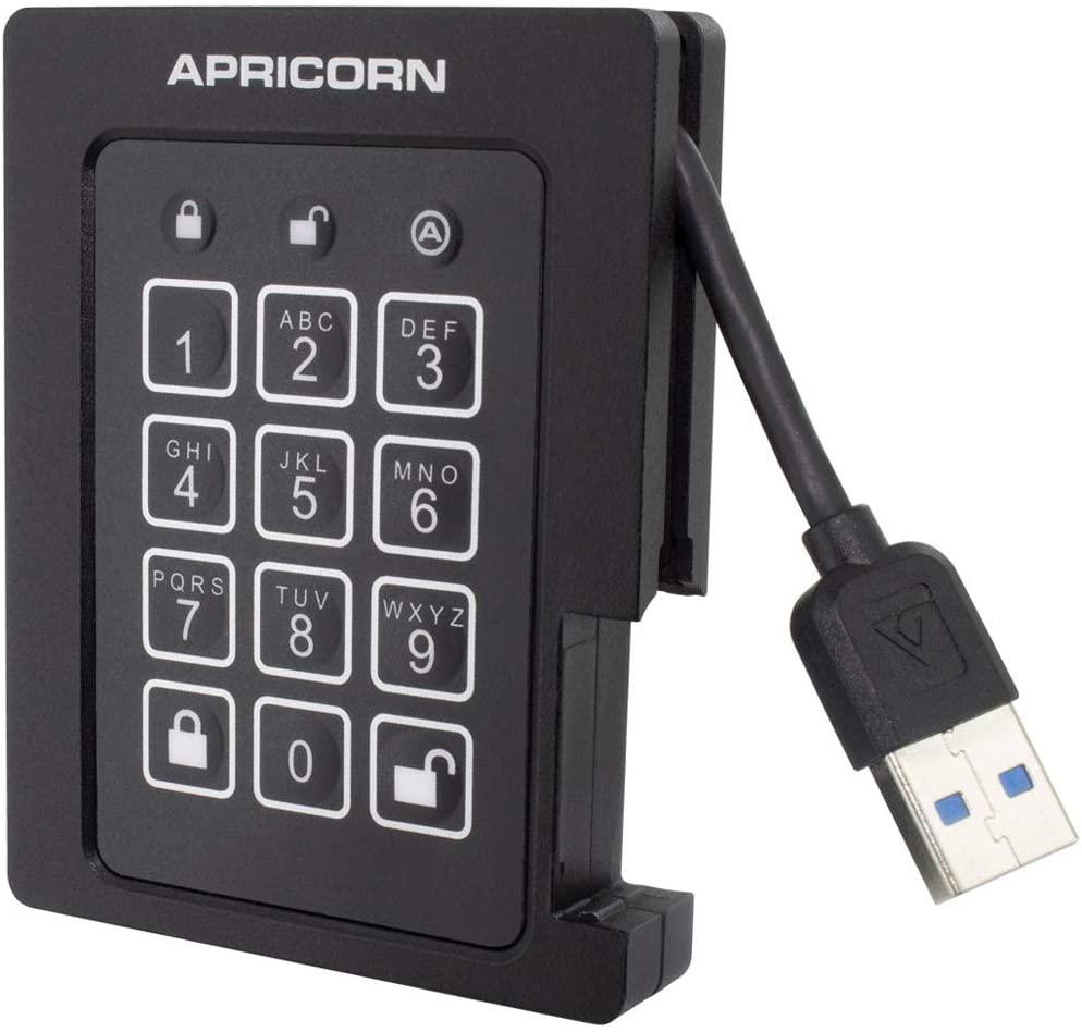 Apricorn Aegis Padlock 2 TB SSD 256-Bit, FIPS 140-2 Level 2 Validated Ruggedized USB 3.0 Encrypted External Portable Drive (ASSD-3PL256-2TBF)