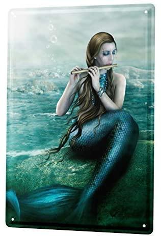HomDeo Novelty Metal Signs Tin Sign Wall Decor Tin Art 8x12 Fantasy Gothic Mermaid pan Flute Rock