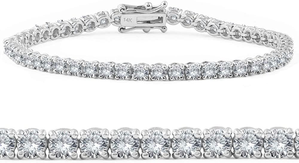 4ct Diamond Tennis Bracelet 14K White Gold