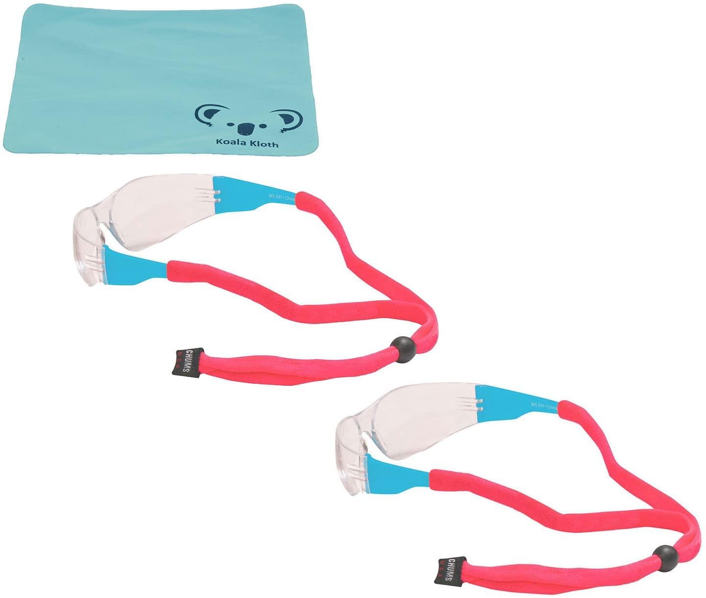 Chums Original Cotton Eyewear Retainer Sunglass Strap | Adjustable Eyeglass & Sports Glasses Holder Keeper Lanyard | 2pk Bundle + Cloth, Pink