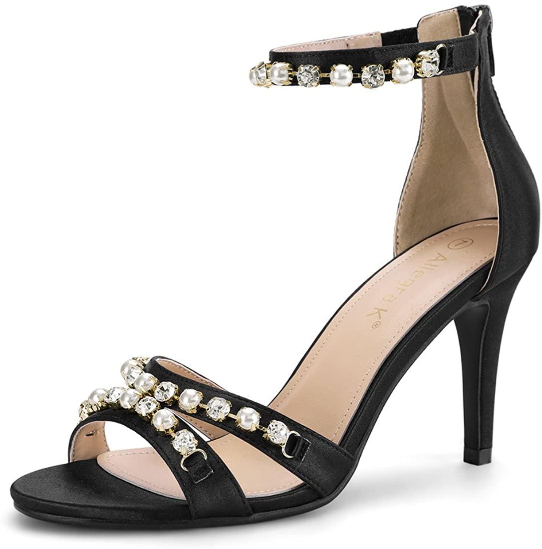 Allegra K Women's Rhinestone Pearls Ankle Strap Stiletto Heel Sandals