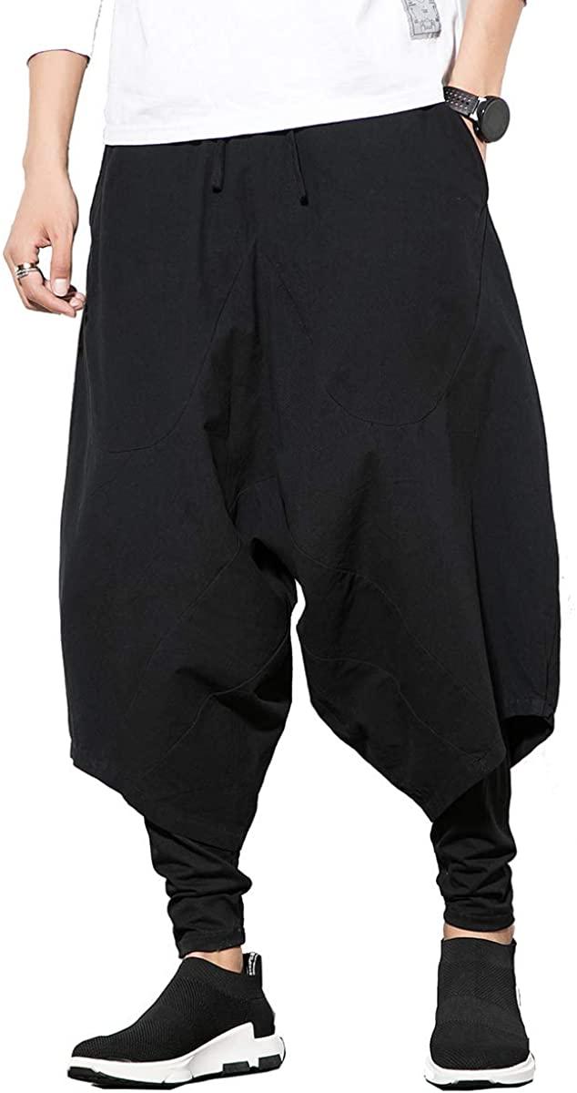 seidarise Men's Harem Pants Hip hop Joggers Baggy Wide Leg Casual Harem Linen Japanese Yoga
