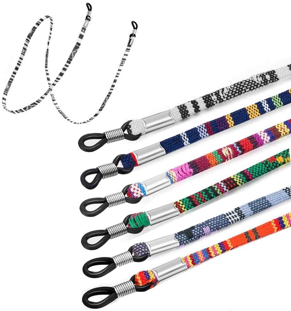 BoomYou Eyeglass Chain Coarse Cotton Strap Holder Sports Glass Cords Lanyard Necklace Chain Long Necklace Fashion Accessories - 6PCS Style 1