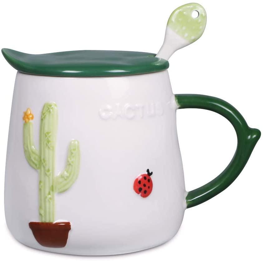 Asmwo Funny Cactus Mug Ceramic Coffee Mug with Lid and Spoon Mug for Women Green Tea Cup 16 oz
